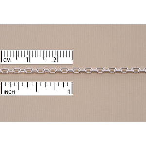 Chain & Clasps Sterling Silver Drawn Cable Chain 3.5mm x 2.5mm, by the Inch
