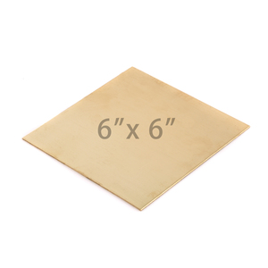 "Sheet Metal Brass 22 gauge Sheet Metal, 6"" x 6"" piece"