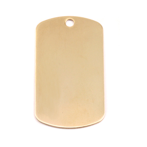 "Metal Stamping Blanks Brass Large Dog Tag, 35mm (1.38"") x 18mm (.71""), 24g, Pack of 5"