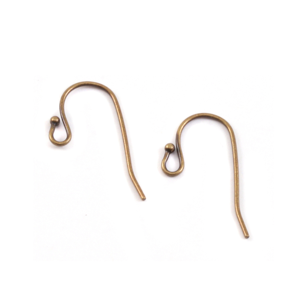 Rivets,  Findings & Stringing Antique Brass 1mm Balled Earwires