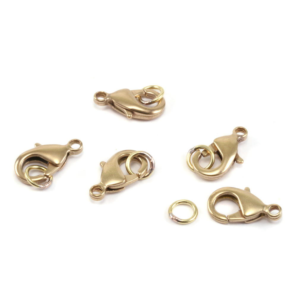 Chain & Clasps Brass 15mm Lobster Clasp w/Soldered Rings, Pk of 6