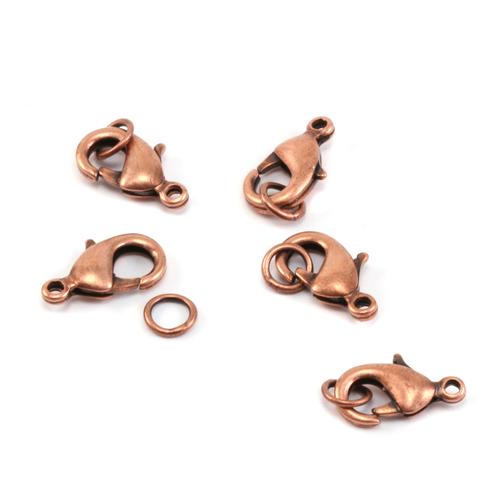 Clasps & Findings Copper 15mm Lobster Clasp w/Soldered Rings, Pk of 5