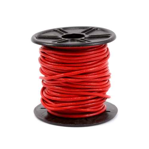 Leather Leather Cord, Round 1.5mm, Red 32.8 ft