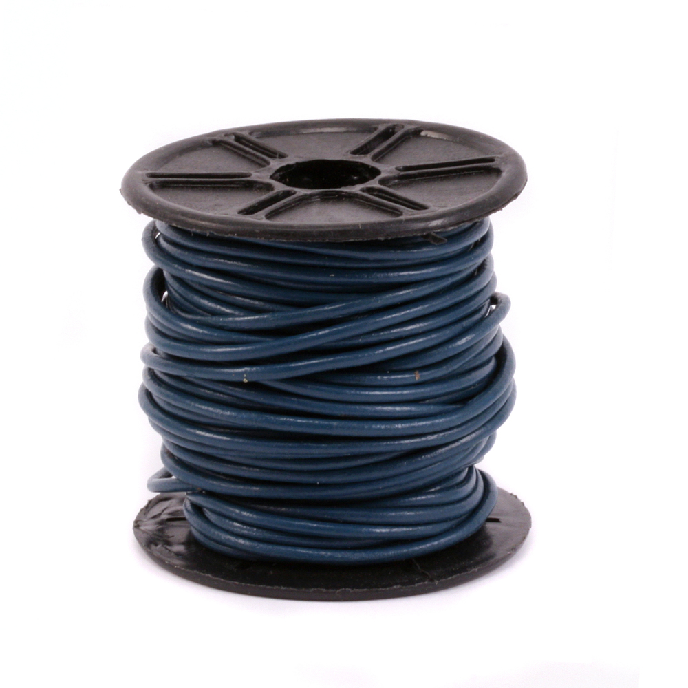 Leather & Faux Leather Leather Cord, Round 1.5mm, Denium Blue 32.8 ft