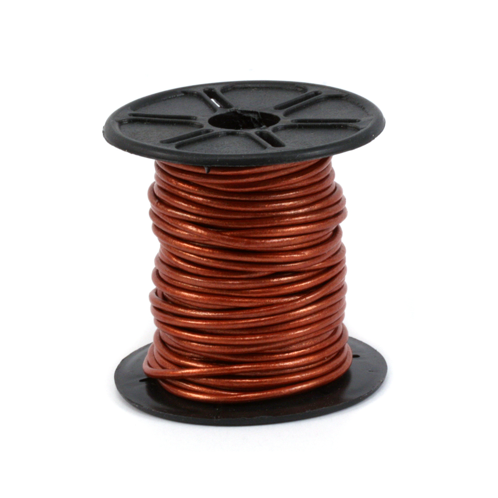 Leather & Faux Leather Leather Cord, Round 1.5mm, Metallic Copper 32.8 ft
