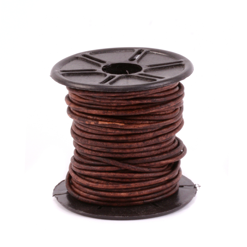 Leather & Faux Leather Leather Cord, Round 1.5mm, Brown 32.8 ft