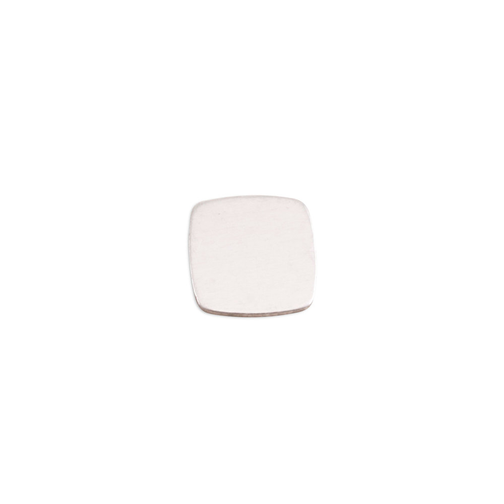 "Metal Stamping Blanks Sterling Silver Rounded Square, 11mm (.43""), 24 Gauge"