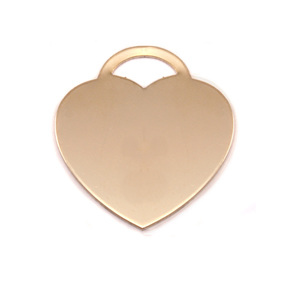 "Metal Stamping Blanks Brass ""Tiffany"" Style Heart, 24mm (.95"") x 22mm (.87""), 24g"