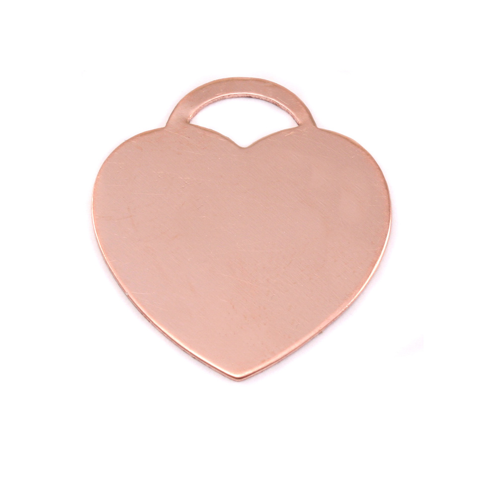 "Metal Stamping Blanks Copper ""Tiffany"" Style Heart, 24mm (.95"") x 22mm (.87""), 18g"