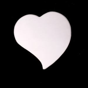 "Metal Stamping Blanks Sterling Silver Stylized Heart, 22mm (.87"") x 19.5mm (.77""), 24g"