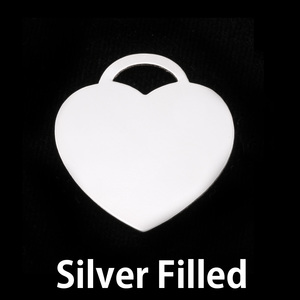 """Metal Stamping Blanks Silver Filled """"Tiffany"""" Style Heart, 24g"""