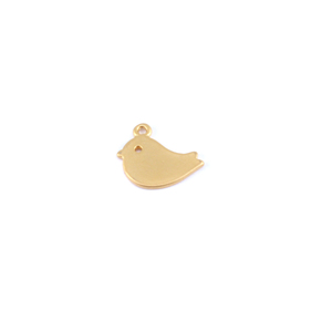 Charms & Solderable Accents Plated Gold Charm: Adorable Bird