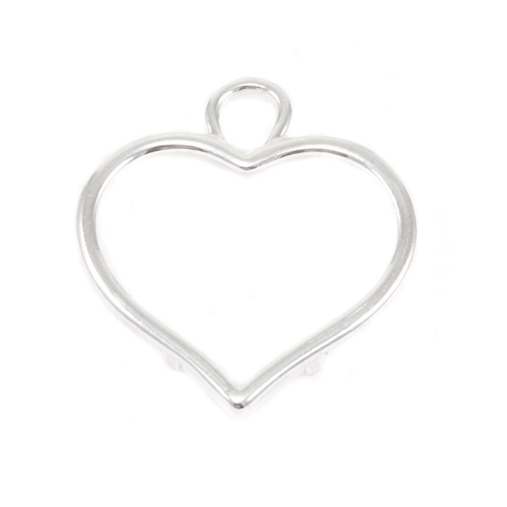 Metal Stamping Blanks Sterling Silver Large Smooth Puffy Heart Frame