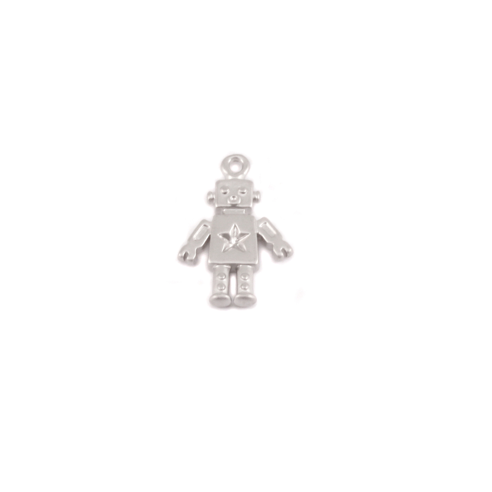 Charms & Solderable Accents Plated Silver Charm: Robot
