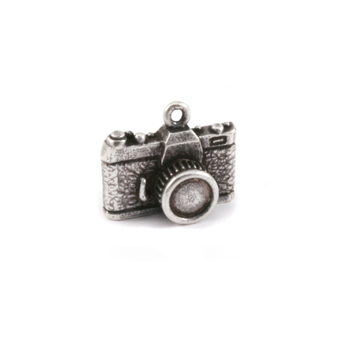 Charms & Solderable Accents Plated Silver Charm: Camera