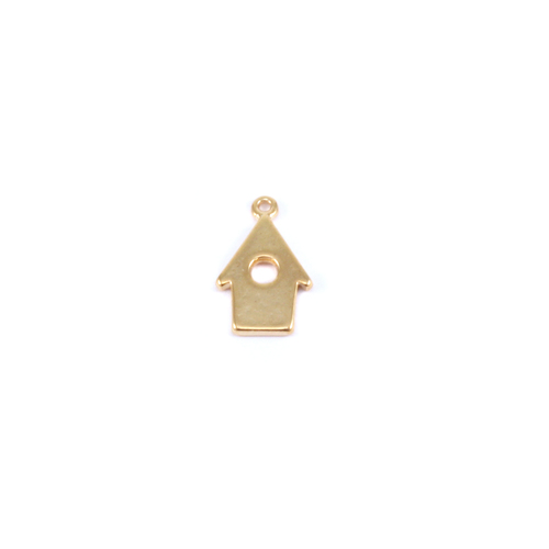 Charms & Solderable Accents Plated Gold Charm:  Bird House