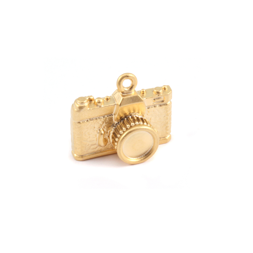 Charms & Solderable Accents Plated Gold Charm: Camera