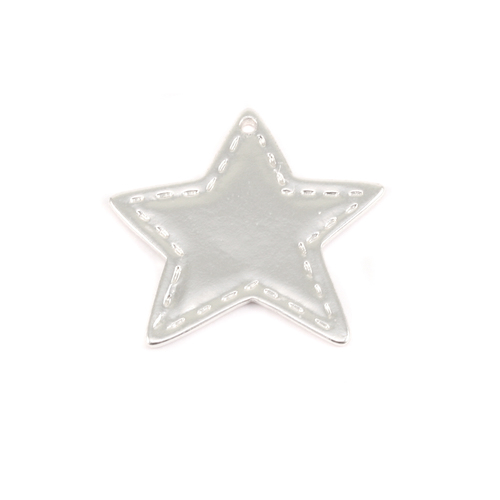 Charms & Solderable Accents Plated Silver Charm: Stitched Star