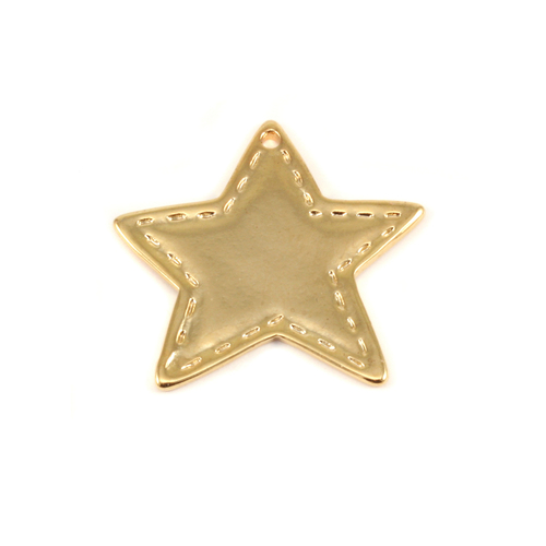 Closeout Plated Gold Charm: Stitched Star
