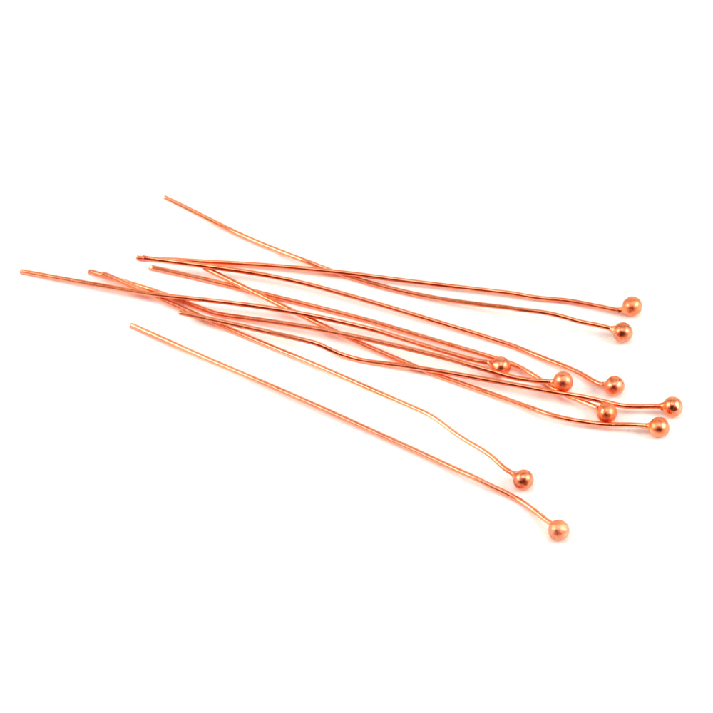 "Rivets,  Findings & Stringing Copper Balled Head Pins 2"" (51.5mm), 24 gauge pack of 10"