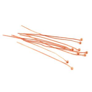 "Clasps, Findings & Stringing Copper Balled Head Pins 2"" (51.5mm), 24 gauge pack of 10"