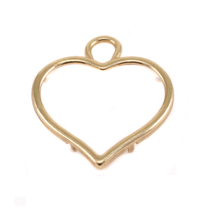 Metal Stamping Blanks Brass Large Smooth Puffy Heart Frame