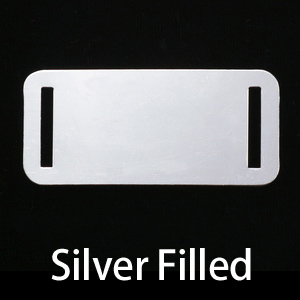 Metal Stamping Blanks Silver Filled Rectangle Component w/Slit Cutouts, 24g