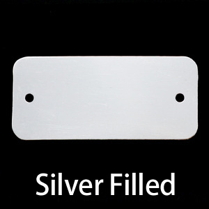 Metal Stamping Blanks Silver Filled Rectangle Component with Holes, 24g