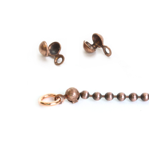 Chain & Clasps Oxidized Copper Ball Tip Connectors for 1.5-2mm Chain, 2pk