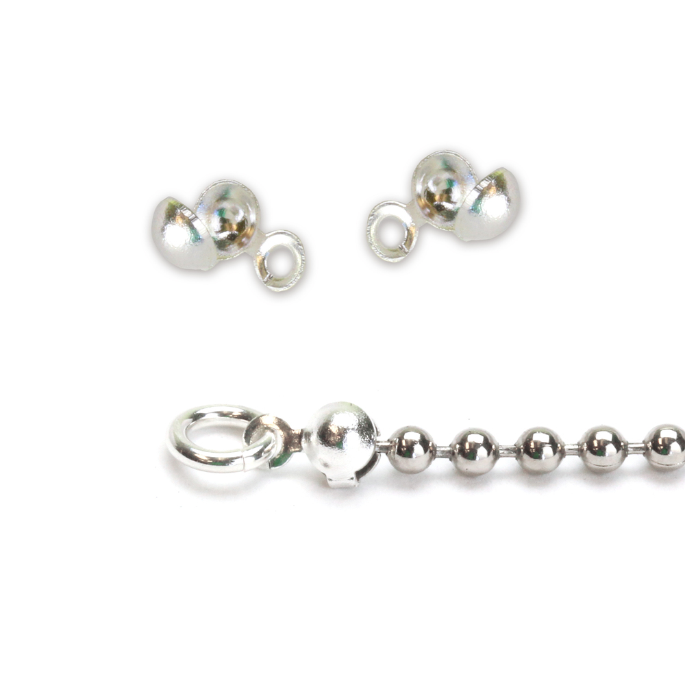 Chain & Clasps Silver Plated Ball Tip Connectors for 1.5-2mm Chain, 2pk