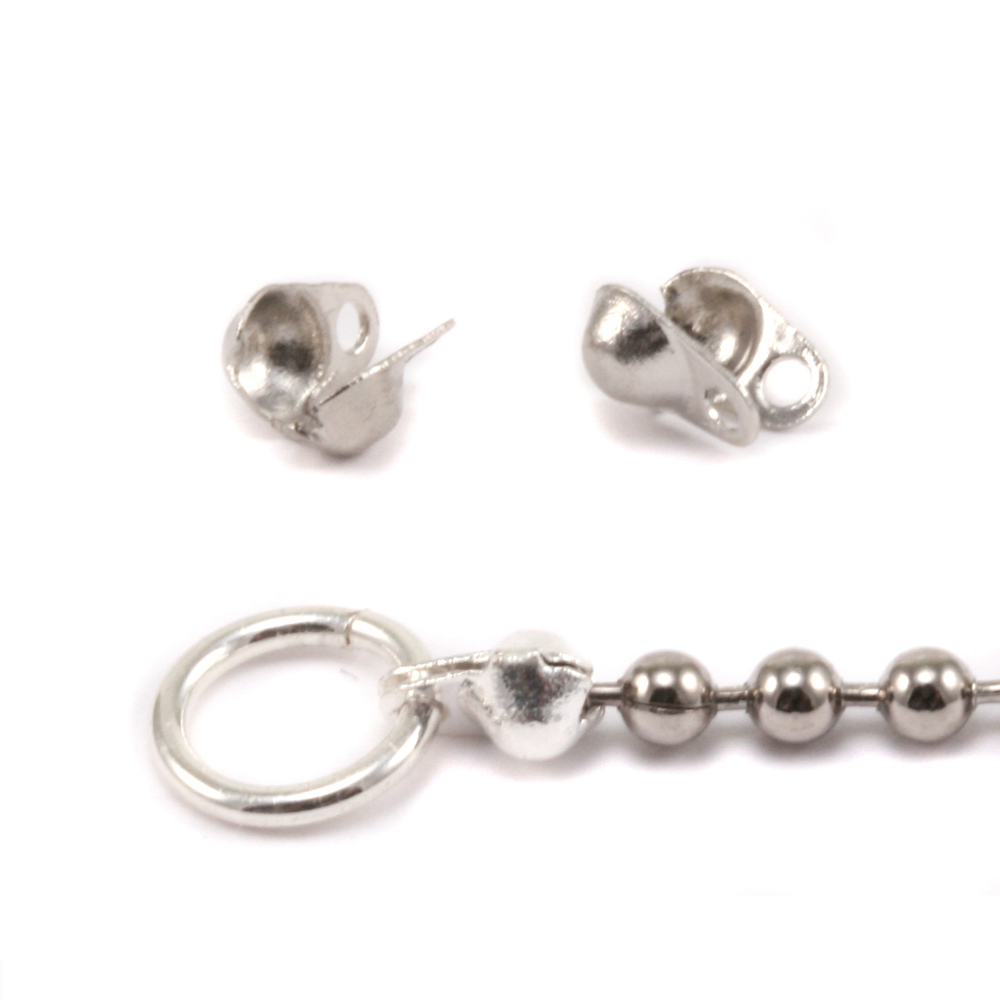 Chain & Clasps Nickel Plated Ball Tip Connectors for 1.5-2mm Chain, 2pk