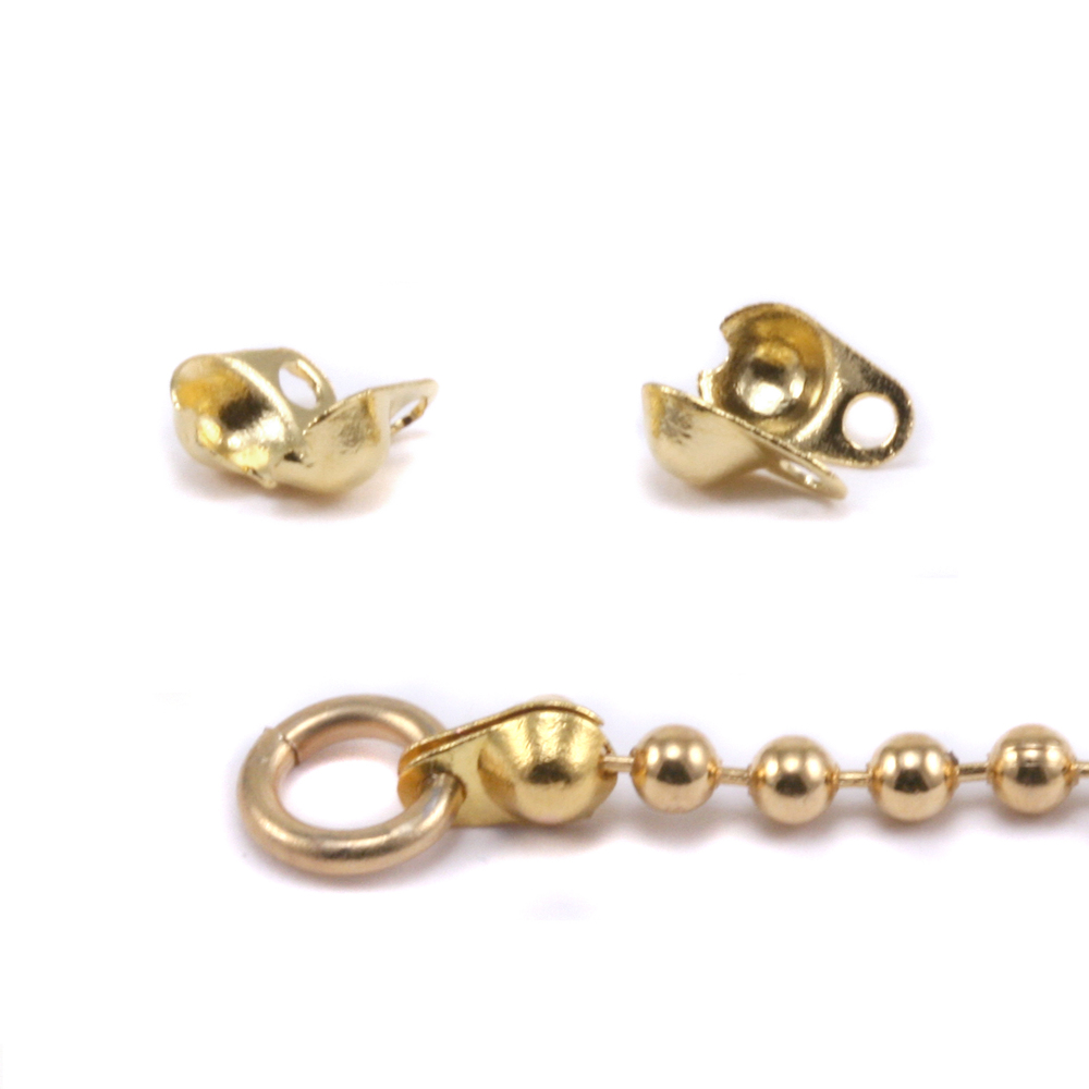 Chain & Clasps Gold Plated Ball Tip Connectors for 1.5-2mm Chain, 2pk