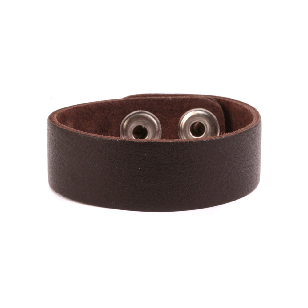"Leather & Faux Leather Stampable Leather Cuff Bracelet 3/4"" Brown"