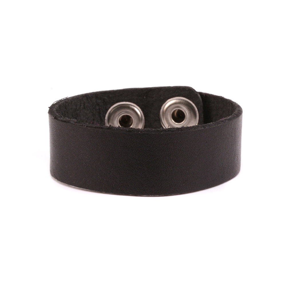 "Leather Stampable Leather Cuff 3/4"" Black"