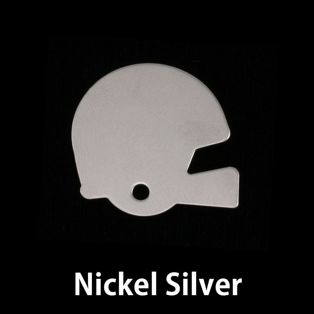 "Metal Stamping Blanks Nickel Silver Football Helmet Blank, 22mm (.87"") x 22mm (.87""), 18g"
