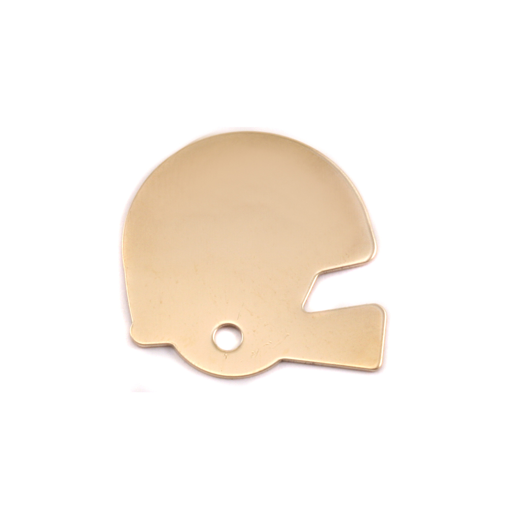 "Metal Stamping Blanks Brass Football Helmet Blank, 22mm (.87"") x 22mm (.87""), 18g"