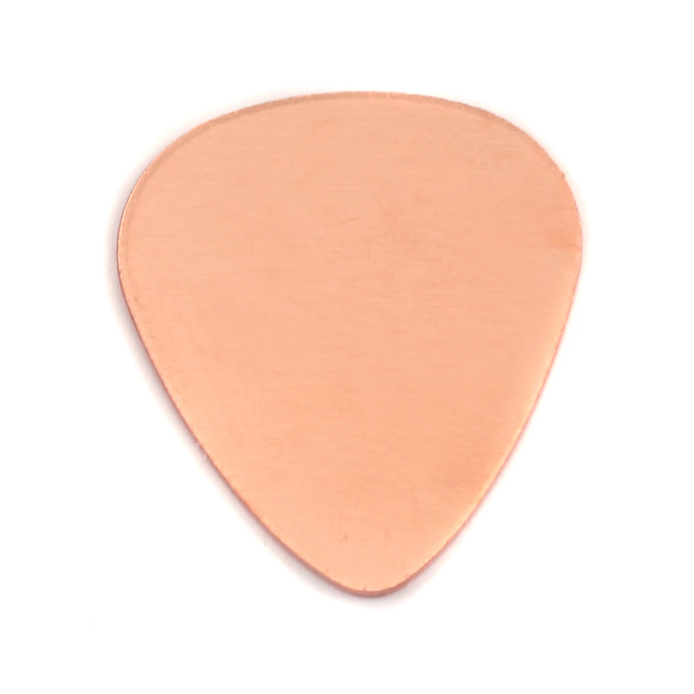 "Metal Stamping Blanks Copper ""Guitar Pick"", 30mm (1.18"") x 25.5mm (1""), 18g"