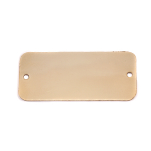 "Metal Stamping Blanks Brass Rectangle with Holes, 44.5mm (1.75"") x 20mm (.79""), 24g"