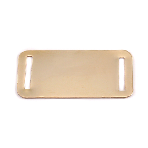 Metal Stamping Blanks Brass Rectangle Component w/Slit Cutouts, 24g