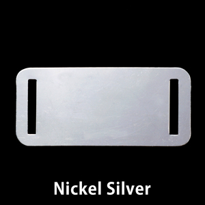 "Metal Stamping Blanks Nickel Silver Rectangle with Slits, 44.5mm (1.75"") x 20mm (.79""), 24g"