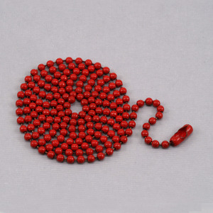 "Chain & Jump Rings Red Ball Chain with connector, 30"" 2.4mm"
