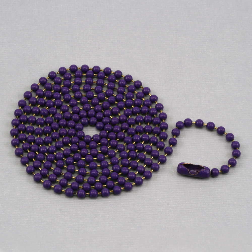 """Chain & Clasps Purple Ball Chain with connector, 30"""" 2.4mm"""