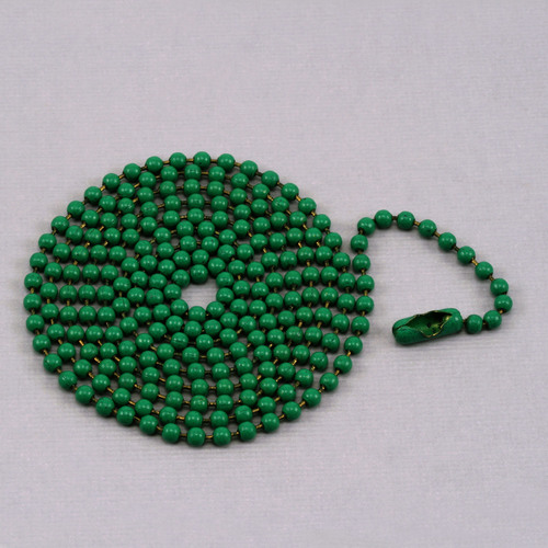 "Chain & Jump Rings Green Ball Chain with connector, 30"" 2.4mm"