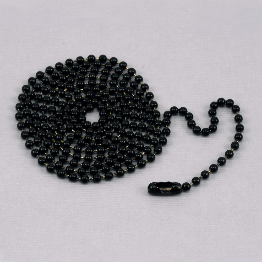 "Chain & Clasps Black Ball Chain with connector, 30"" 2.4mm"