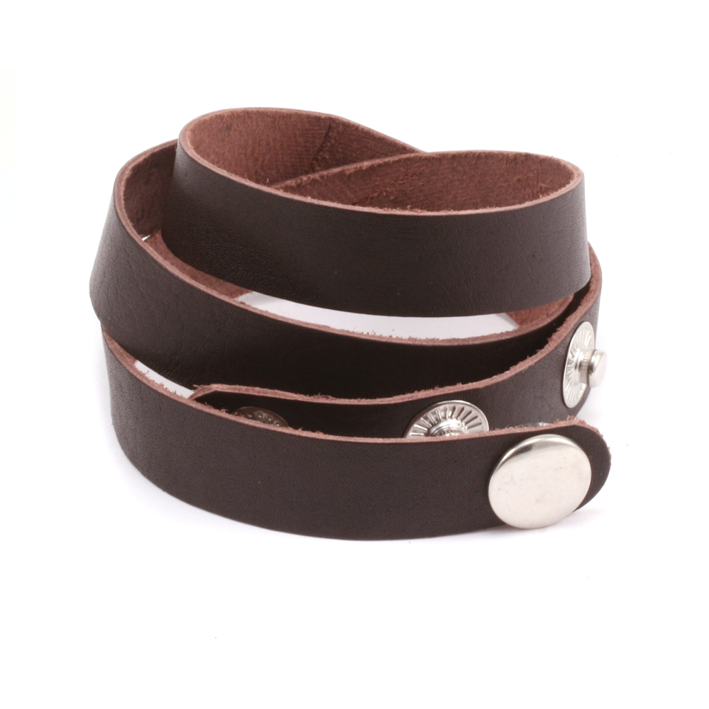 "Leather & Faux Leather Stampable Leather Wraparound Bracelet 1/2"" Adjustable, Brown"