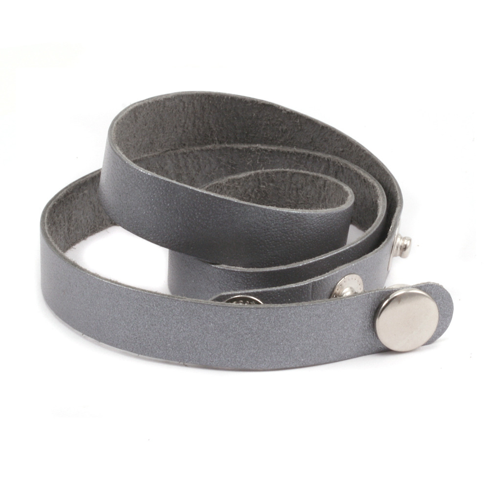 """Leather & Faux Leather Stampable Leather Wrap Around Bracelet 1/2"""" Adjustable, Silver"""