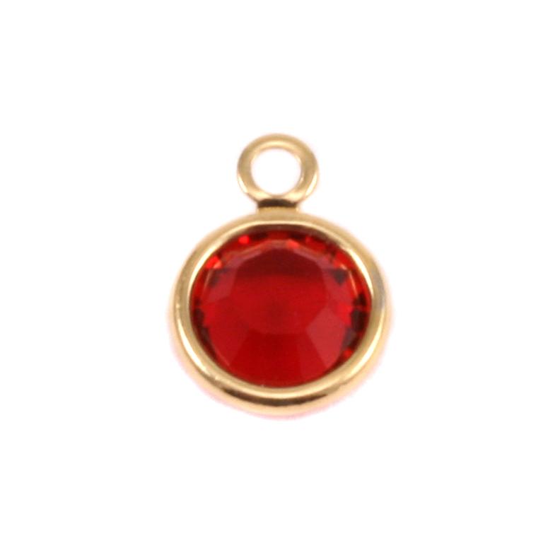 Swarovski Crystal Channel Gold Charm (Ruby/Garnet - JAN or JULY)