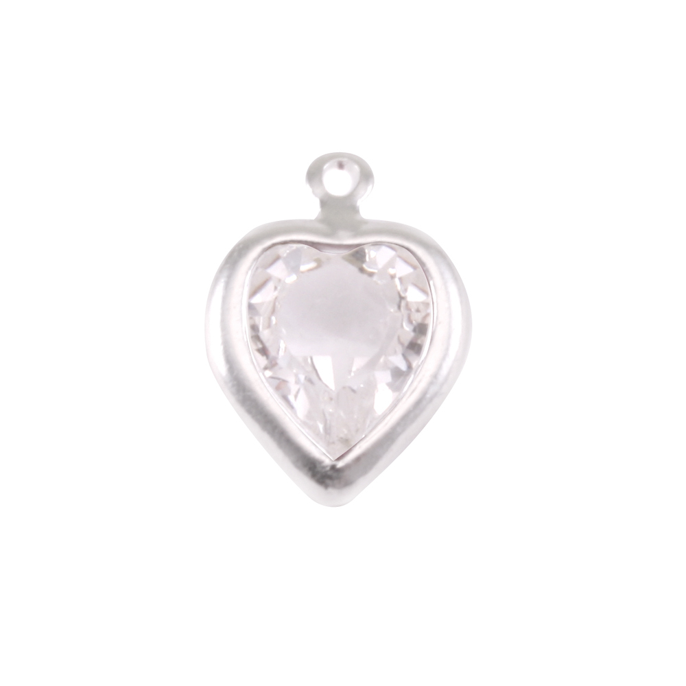 Charms & Solderable Accents Swarovski Crystal Heart Silver Charm Diamondique  (APRIL)