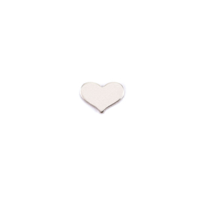 "Metal Stamping Blanks Sterling Silver Classic Heart Solderable Accent, 7mm (.28"") x 5mm (.20""), 24g - Pack of 5"