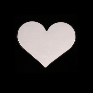 "Metal Stamping Blanks Sterling Silver Classic Heart, 20mm (.79"") x 17mm (.67""), 24g"